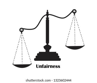 scales of  unfairness justice icon.Vector EPS 10.