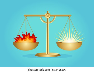 Scales vector illustration. Balance between evil and good.