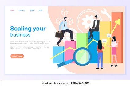 Scaling business, graphic or chart and entrepreneurs. Statistics and analytics, businessman and businesswoman, magnifier and economic growth. Website or webpage template, landing page in flat style
