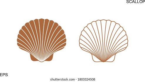 Scallop logo. Isolated scallop  on white background