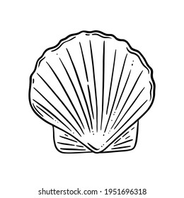 Scallop shell logo. Seashell with a pearl or ready for cooking. Vector illustration isolated in white background