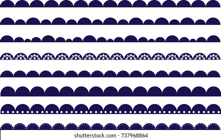 Scalloped Border, Lace, Brush, Drawing, Line, Elegant, Pretty, Bump, Dots, Shape, Ribbon, Hand Drawn Divider, Frame, Decorative, Fashion Design, Round, Stroke, Textile, Tape, Edge, Band, Circle, Navy