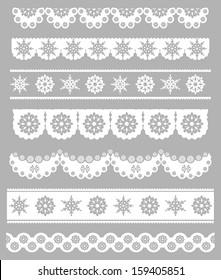 Scalloped Christmas Digital Seamless Borders with Snowflakes