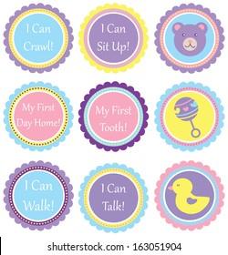 Scalloped Circles - Baby Saying Set