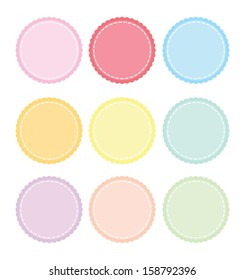 Scalloped Edge Stitched Circle Badge Vector