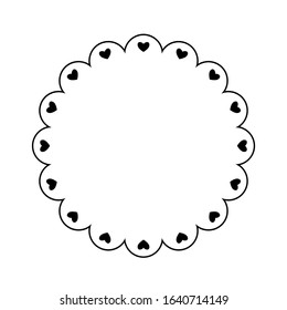 Scalloped frame with hearts outline. Clipart image isolated on white background