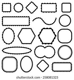 scalloped frames set, vector