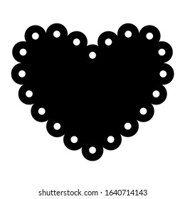 Scalloped heart shape with dots. Clipart image isolated on white background