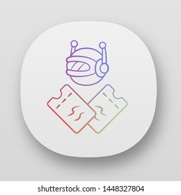 Scalper bot app icon. Tickets wholesale buying scalping bot. Online bulk purchases. Artificial intelligence. UI/UX user interface. Web or mobile applications. Vector isolated illustrations