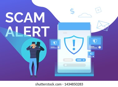 Scam alert landing page template. Cyber criminal protecting eyes from searchlight. Data protection concept. Vector illustration can be used for poster, web page, presentation