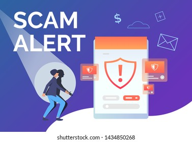 Scam alert presentation slide template. Scammer looking at tablet screen with warning sign. Hacker attack concept. Vector illustration can be used for banner, poster, landing page