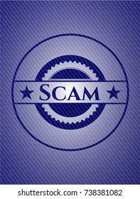 Scam emblem with jean texture