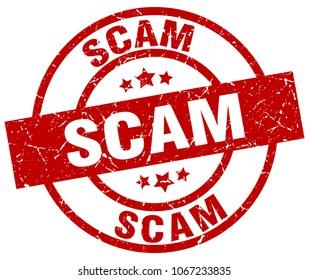 scam round red grunge stamp