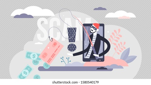 Scam vector illustration. Hacker fraud alert in flat tiny persons concept. Money and credit card information stealing with data phishing. Dangerous criminal online activity scene to get illegal money.