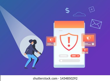 Scammer looking at tablet screen with warning sign. Hacker attack failure. Information security concept. Vector illustration can be used for antivirus, data protection, threat