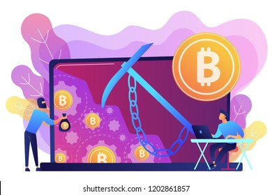 Scammer in mask stealing cryptocurrency from mining pool on laptop. Hidden mining, miner bot and mining virus concept on white background. Bright vibrant violet vector isolated illustration