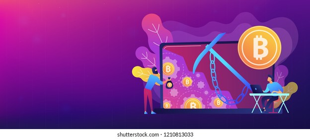 Scammer in mask stealing cryptocurrency from mining pool on laptop. Hidden mining, miner bot and mining virus concept on white background. Header or footer banner template with copy space.