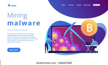 Scammer in mask stealing cryptocurrency from mining pool on laptop. Hidden mining, miner bot and mining virus concept on white background. Website vibrant violet landing web page template.