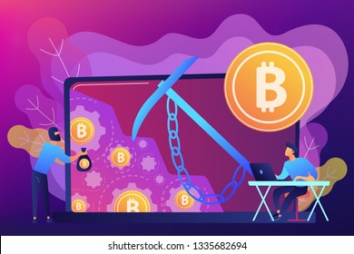 Scammer in mask stealing cryptocurrency from mining pool on laptop. Hidden mining, miner bot and mining virus concept on ultraviolet background. Bright vibrant violet vector isolated illustration