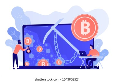 Scammer in mask stealing cryptocurrency from mining pool on laptop. Hidden mining, miner bot and mining virus concept on white background. Pinkish coral bluevector isolated illustration