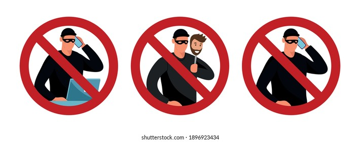 Scammers and prohibition sign. Conceptual flat vector illustration. Cybercrime warning, fishing, phone trickery and computer extortion. Graphic design set isolated on white background