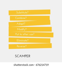 SCAMPER (Substitute Combine Adapt Modify Put Eliminate Reverse). Use this method to be creative.