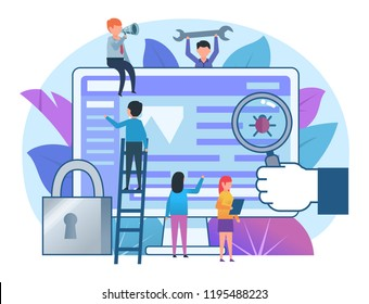 Scan computer for viruses, protection, data safety concept. Small people stand near computer. Poster for banner, social media, presentation, web page. Flat design vector illustration