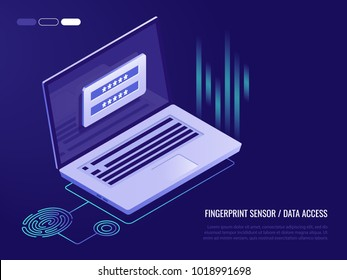 Scan Fingerprint on laptop. Identification system. Biometric authorization and business security concept. Illustration of application scanning fingerprint. Vector illustration in isometric style