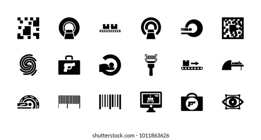 Scan icons. set of 18 editable filled scan icons: briefcase with weapon, qr code, mri, bar code, luggage scan, x-ray on display