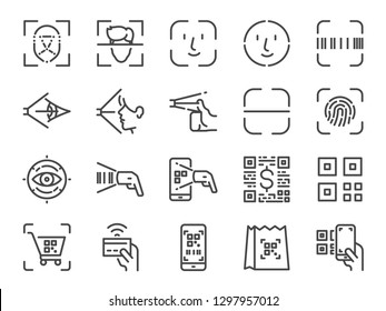 Scan to pay line icon set. Included icons as face id, scanner, qr code, barcode, shopping and more.