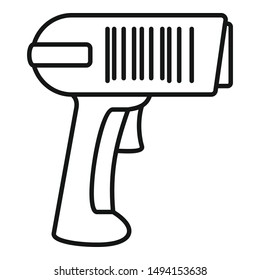 Scan pistol icon. Outline scan pistol vector icon for web design isolated on white background