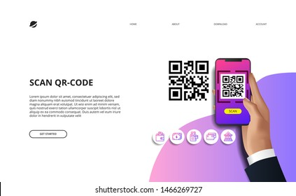 scan qr code for finance online payment cashless society concept with finance. hand holding phone illustration. icons landing page website template