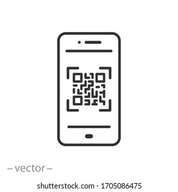 scan qr code icon, barcode scanner, phone app, thin line web symbol on white background - editable stroke vector illustration eps10