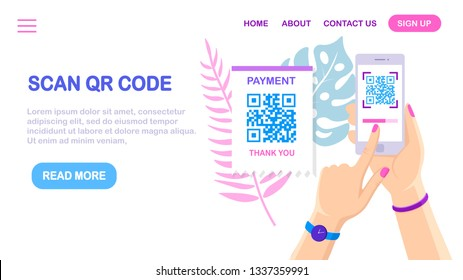 Scan QR code to phone. Mobile barcode reader, scanner in hand with pay receipt. Electronic digital payment with smartphone. Vector flat design