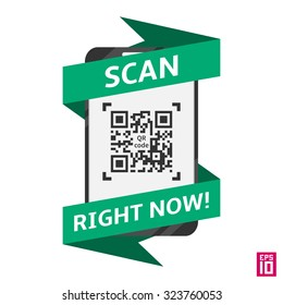 Scan QR code vector illustration. Creative concept Scan QR code with smartphone.