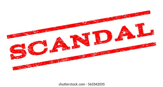 Scandal watermark stamp. Text caption between parallel lines with grunge design style. Rubber seal stamp with unclean texture. Vector red color ink imprint on a white background.