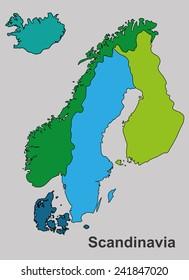 Scandinavia colorful map, scandinavia map vector, map vector