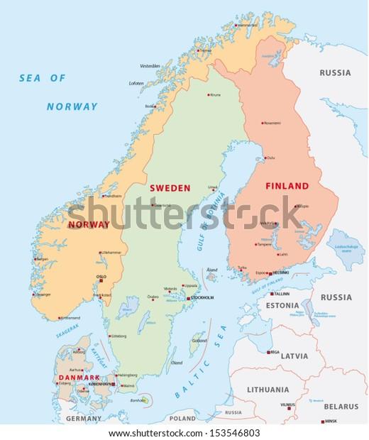 Scandinavia Map Stock Vector (Royalty Free) 153546803