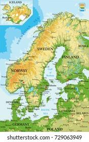 Scandinavia relief map