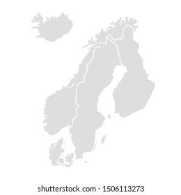 Scandinavia vector map sweden norway denmark finland.