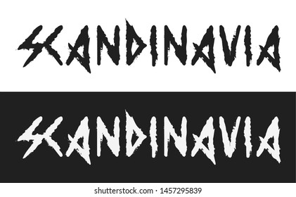 Scandinavia, Vector text label in dark style with the ancient viking alphabet white and black style isolated. Creative caption demonstrates the severity and coldness of the Scandinavian Vikings