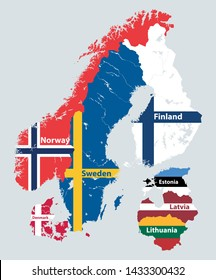 Scandinavian and Baltic regions countries political detailed map mixed with national flags. Vector illustration