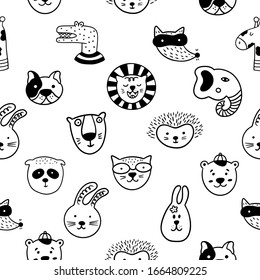 Scandinavian childish seamless pattern with cute animal faces on a white background. Can be used for wallpaper, wrapping, textile, fabric.
