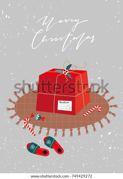 Christmas Gift Box Template.Scandinavian Christmas Card Gift Box Template Stock Vector