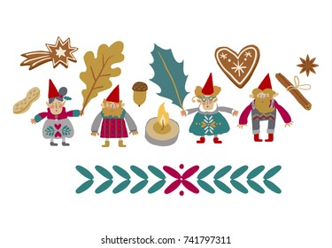 Scandinavian Christmas. Gnomes. Fairy tale. Fantastic character set. Magical Christmas stories vector clip art.