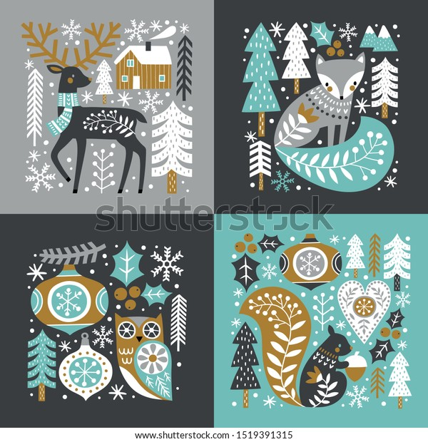 Scandinavian Christmas illustration with cute woodland animals, woods and snowflakes on dark grey background. You can find the matching seamless pattern in my Christmas set.