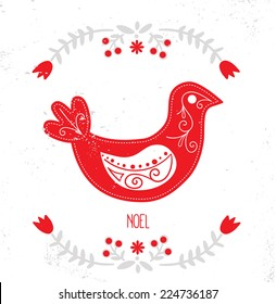 Scandinavian Christmas Red and White Decoration. Vector Bird.
