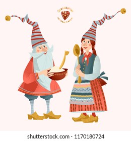 Scandinavian Christmas tradition. The gnome gives a pot of Christmas rice porridge to his girlfriend. Vector illustration