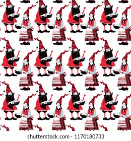 Scandinavian Christmas tradition. The gnome gives a pot of Christmas rice porridge to his girlfriend. Seamless background pattern. Vector illustration