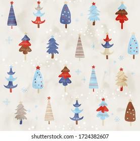 Scandinavian Christmas tree watercolor pattern